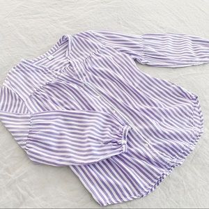 lilac striped balloon puff sleeve blouse